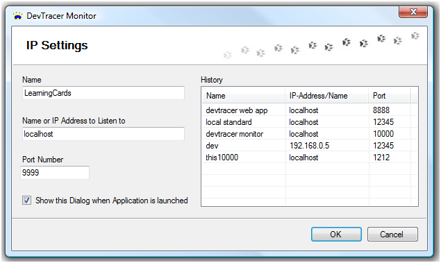Dialog to specify IP-Settings