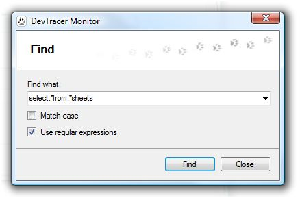 DevTracer Monitor Search Dialog