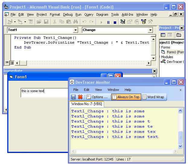 Example for using DevTracer with Visual Basic 6